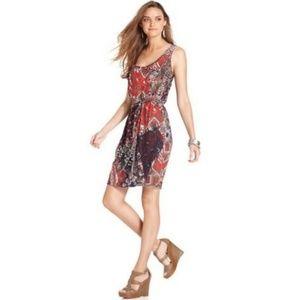 Lucky Brand Sleeveless Pattern Belted Dress